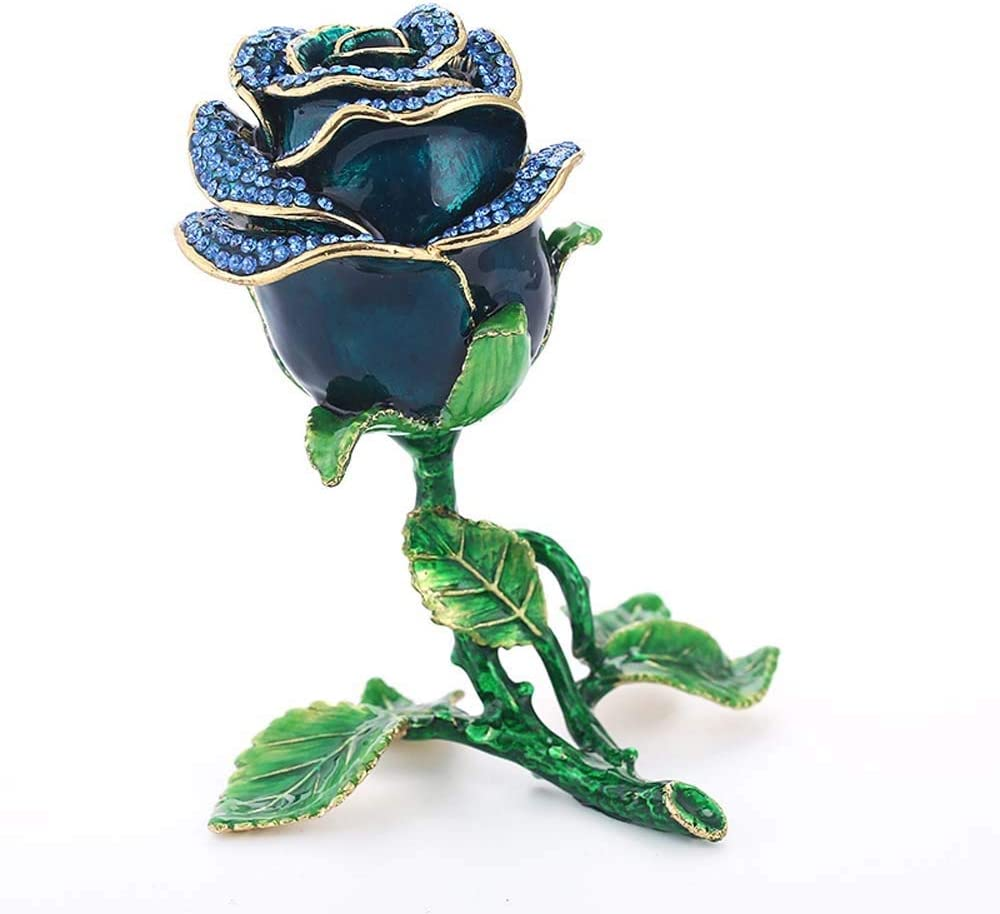 YANG1MN.Ornaments Max 86% OFF Blue Metal Roses Ornaments Creativ 67% OFF of fixed price Box Jewelry