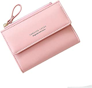 Women Small Wallet Lady Mini Purse Bifold Leather Short Wallet RFID Blocking with ID Window (B-Pink)