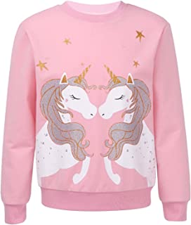 Aiihoo Enfant Fille Sweat Shirt Licorne T-Shirt à Manche Longue Sweat Mignon Casual Mode Crops Tops Sport Danse Haut Joggi...