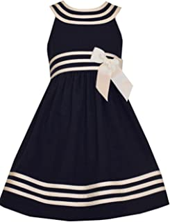 Girls Easter Navy Nautical Uniforms Dress