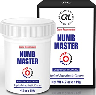 Numb Master 5% Lidocaine Topical Numbing Cream with Aloe, Vitamin E, 4.2 Oz Maximum Strength Topical Anesthetic Cream Pain Relief Cream with Child Resistant Cap