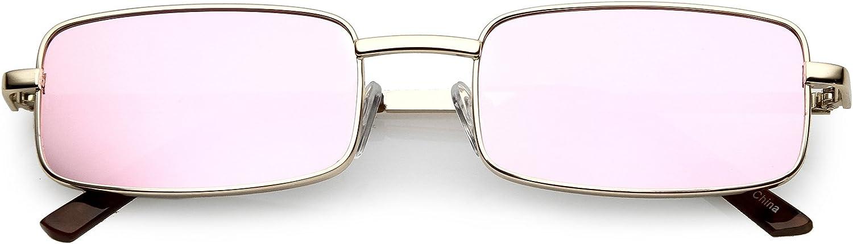 SunglassLA  Classic Small Metal Rectangle Sunglasses color Mirrored Flat Lens 54mm