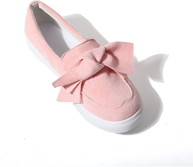 GilesJones Loafers Flat Women,Sweet Bow Suede Platform Slip-On Moccasins shoes