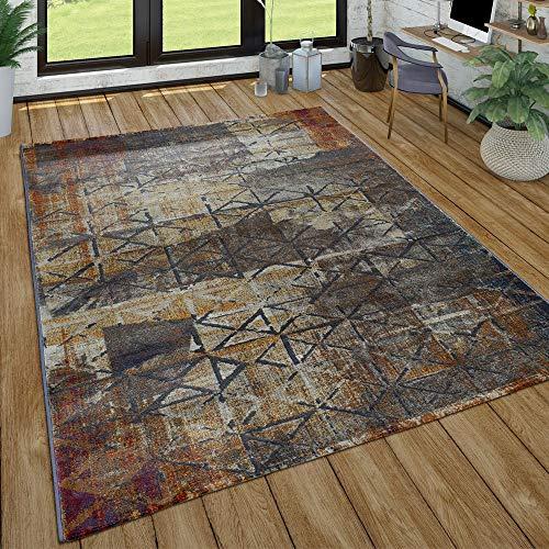 Paco Home Wohnzimmer Teppich Im Vintage Used Look, Industrial Style Kurzflor in Rostfarben, Grösse:120x170 cm, Farbe:Grau 2