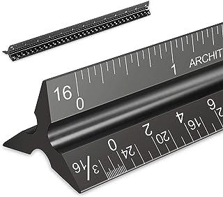 معماری مقیاس حاکم، اندازه های امپریال 12 ''، معمار آلومینیوم آرماتور لیزری اهرم مثلث سیاه و سفید برای معماران، دانشجویان، طراحان و مهندس توسط Mveohos