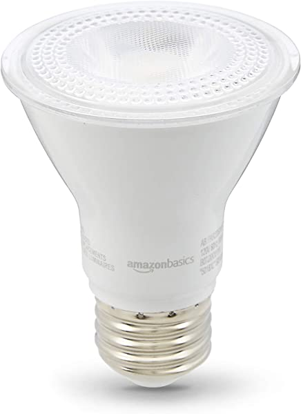 AmazonBasics 50W Equivalent Warm White Dimmable 10 000 Hour Lifetime PAR20 LED Light Bulb 6 Pack
