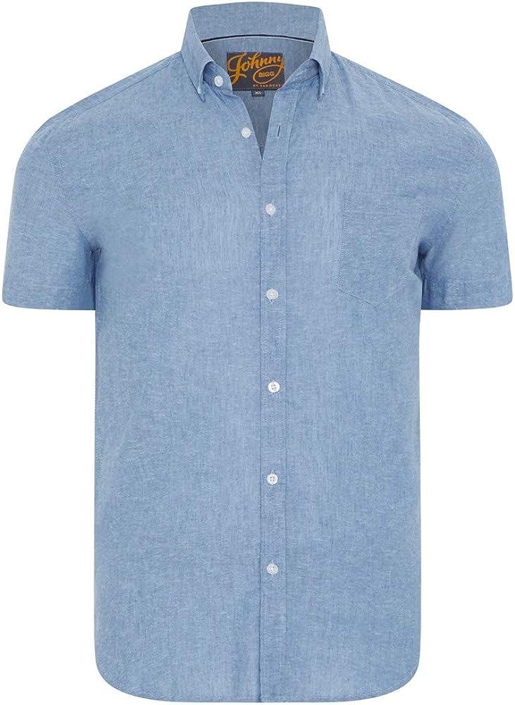 Johnny Bigg Mens Tahiti Linen Blend S Sleeve Chest Pocket Button Down Collared Shirt Denim - Fashion