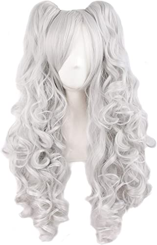 """MapofBeauty 28""""/70cm Lolita Long Curly Clip on Ponytails Cosplay Wig (Silver Gray)"""