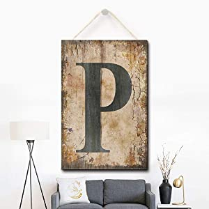 Puernash Wooden Hanging Sign Letter P Wood Sign 8 X 12 Inches
