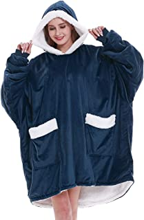 Panku Wearable Blanket Oversized Sherpa Hoodie with 2 Pockets Super Warm Soft Hoodie (Navy/White)