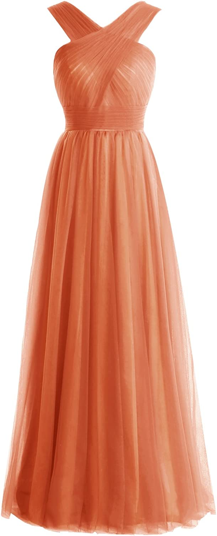 Bbonlinedress Long Tulle ALine Bridesmaid Dresses Ruched VNeck Prom Dresses