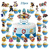 Paw Patro_l Cake Toppers 25pcs Cupcake Toppers for Kids Birthday Party Decorations