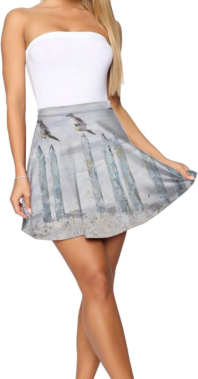 RHRFOL Ocean Beach Women's Basic Versatile Stretchy Flared Casual Mini Skater Skirt