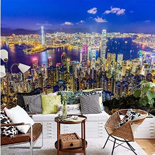 Wuyii 3D-muurschildering, groot, decoratie, bier, hong, kong, nacht, woonkamer, hotel, restaurant, wand 200 x 140 cm