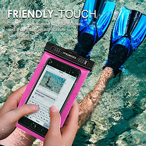 MoKo Waterproof Phone Pouch Holder, Underwater Cellphone Case Dry Bag with Lanyard Armband Compatible with iPhone 12 Mini/12 Pro, iPhone 11 Pro Max, Xr/Xs Max, 8, Samsung S21/S20/S10/S9, A10E, Note 10