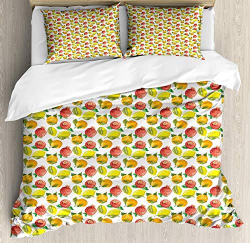 Fruit Full Hotel 4pc Duvet Cover Set, Hypoallergenic Decorative Bedding Set with Zipper Closure Vitamin C Pattern of Seasonal Orange Pomegranate Lemon Marigold Yellow Dark Salmon Fern Green