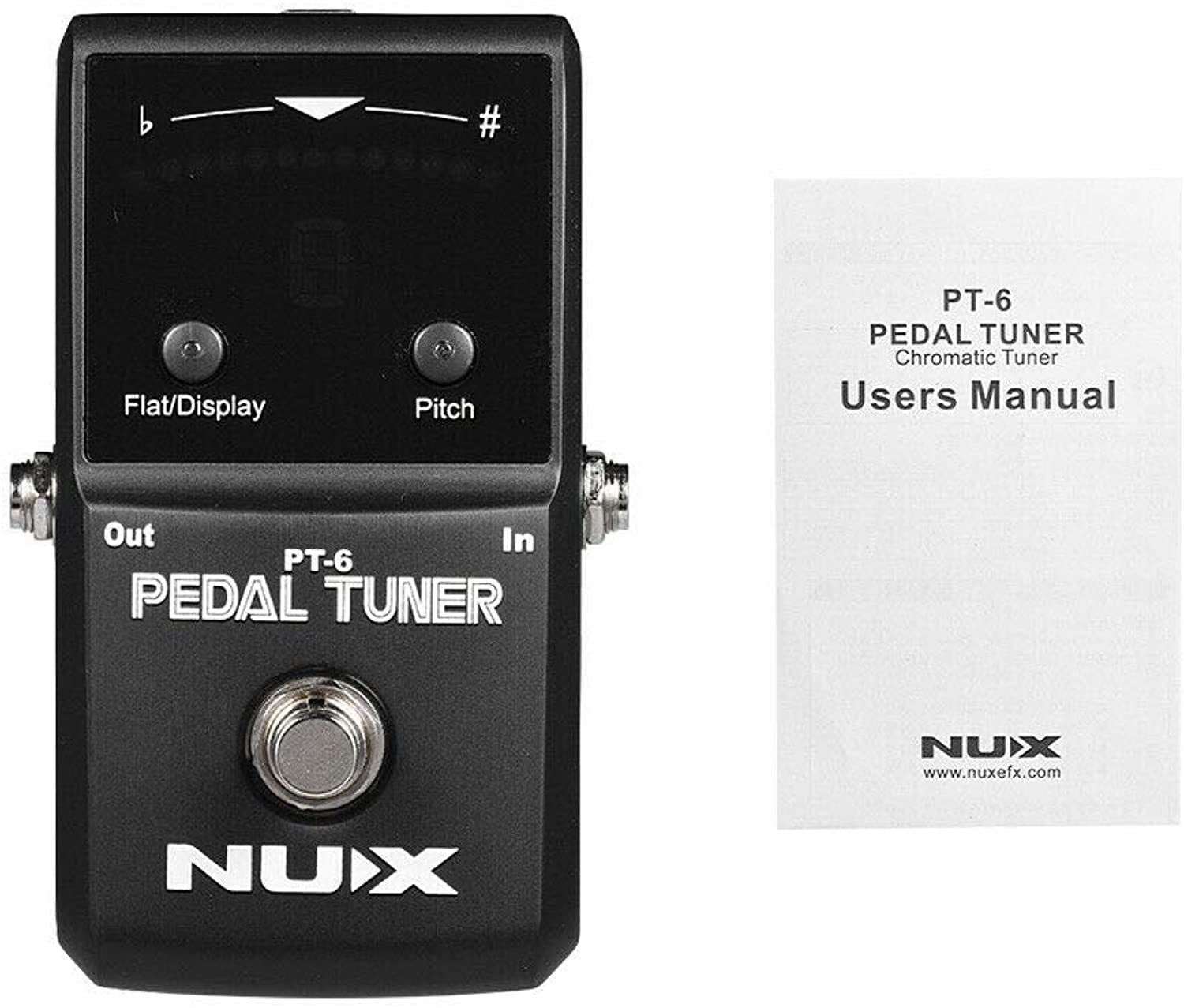 DSstyles NUX PT-6 Chromatic Pedal Tuner with Metal Casing True Bypass Guitar Accessories