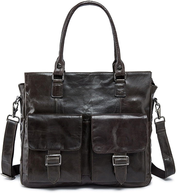 Vintage Style Echte Echte Echte Top Kuh Leder Umhängetasche Schultertasche Tote Handtasche Business Aktentasche für 13 Laptop Bürotasche (Farbe   Grau) B07JKKD8PH cf23f5