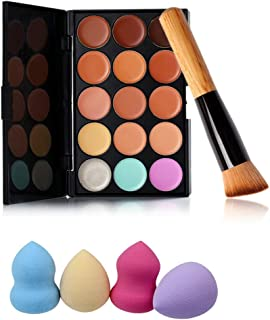 Pure Vie Pro 1 Pcs Make Up Brushes + 4 Sponge Puff + 15 Colors Cream Concealer Camouflage Makeup Palette Contouring Kit for Salon and Daily Use