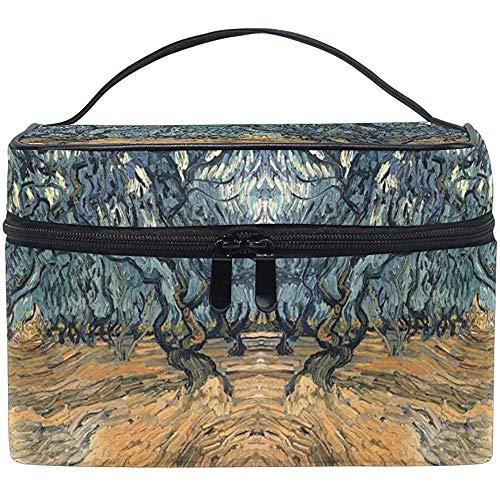 Trousse de maquillage Van Gogh Iris Portable Grand Trousse de toilette cosmétique Voyage Train Case Organizer Box Pouch