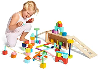The Block Set by Lovevery – Solid Wood Building Blocks and Shapes + Wood Storage Box, 70 Pieces, 18 Colors, 20+ Activities