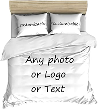 LEECUM Custom Photo Duvet Cover Set with 2 Pillowcase Print Any of Your Design Bedroom Bedding for Family Personalized Bedclo