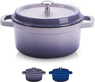 SULIVES Non-Stick Enamel Cast Iron Dutch Oven Pot with Lid Suitable for bread baking use on gas electric oven 5 Quart for 4-6