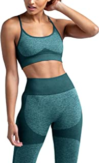 HAODIAN Women's Workout Sets 2 Piece Seamless Slim Fit Yoga Leggings with Sports Bra Clothes Set