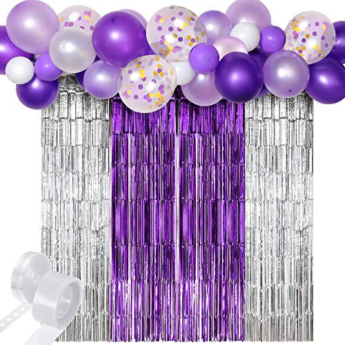 Purple Balloon Garlands Kits Balloon Arch Decorations with Silver Purple Metallic Tinsel Foil Fringe Curtains White Purple and Gold Confetti Balloons for Birthday Wedding Baby Shower Party Decorations
