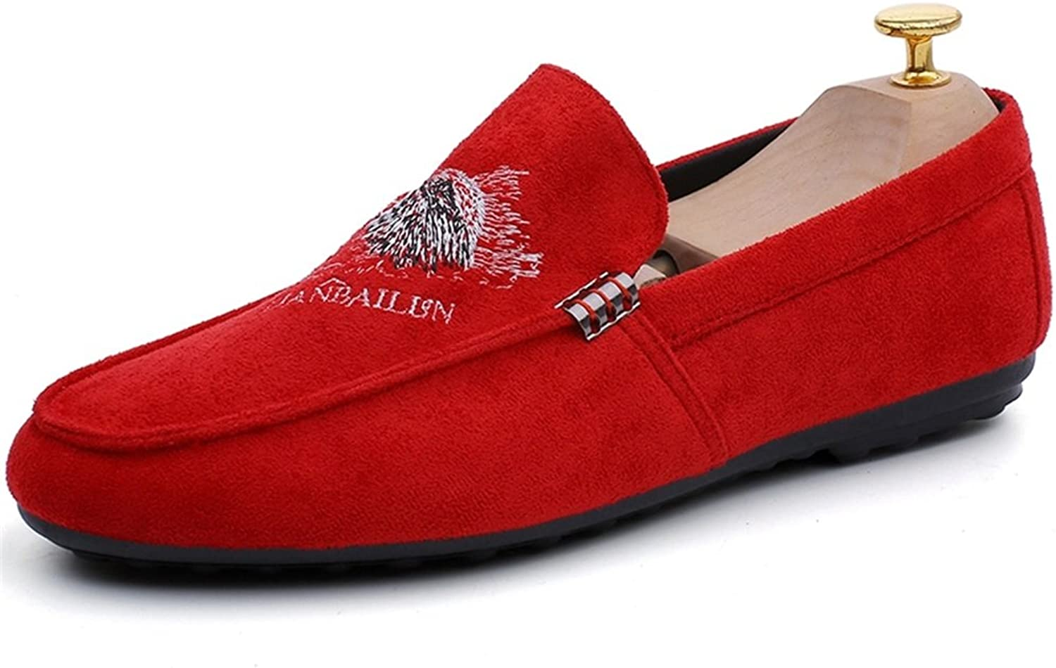 GLSHI Men's shoes Suede Formal shoes Light Soles Loafers & Slip-Ons For Casual Office & Career Outdoor Red Black