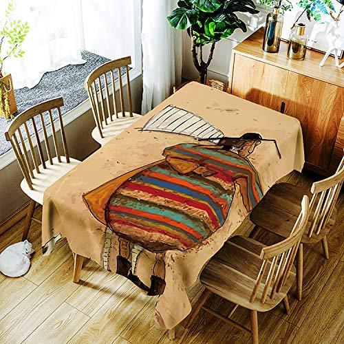 JUNGEN Mantel Estampado Vintage con Patrón de Personaje Mantel Rectangular 140x180cm Mantel Antimanchas Mantel Impermeable para Decoracion de mesas del Cocina Comedor