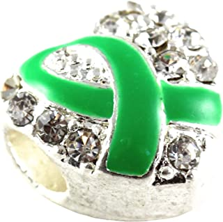 Awareness Products Warehouse Green Ribbon Heart Charms with Australian Crystals Fits Pandora Style Bracelets