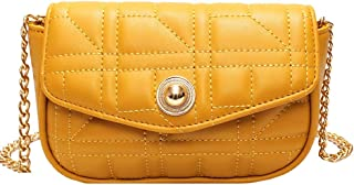Fashion Women's Bags PU(Polyurethane) Crossbody Bag Chain Solid Color Beige/Yellow/Khaki Precision Stitching (Color : Yellow)