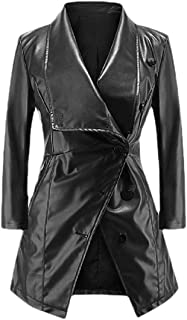 Howely Women's Mid-Long Oversized Trench Single Breasted Pu Leather Jacket