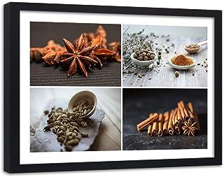 Feeby Cuadro con Marco XXL Collage Arte Moderno Condimentos Cocina Multicolor 120x80 cm