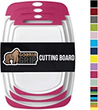 Gorilla Grip Original Reversible Cutting Board, 3 Piece, BPA Free, Juice Grooves, Larger Thicker Boards, Easy Grip Handle, Dishwasher Safe, Non Porous, Extra Large, Kitchen, Set of 3, Hot Pink