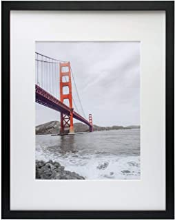 Frametory, 16x20 Black Picture Frame - Made to Display Pictures 11x14 Photo with Ivory Color Mat - Wide Molding - Built in...