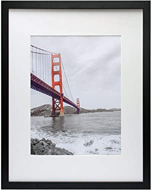 Frametory, 16x20 Black Picture Frame - Made to Display Pictures 11x14 Photo with Ivory Color Mat - Wide Molding - Built in Ha