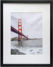 Frametory, 16x20 Black Picture Frame - Made to Display Pictures 11x14 Photo with Ivory Color Mat - Wide Molding - Built in Hanging Features