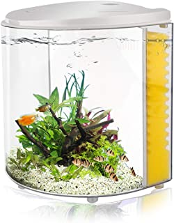 YCTECH 1.4 Gallon Half Moon Betta Aquarium Starter Kits, Small Fish Tank with LED Light and Filter Pump (320white)