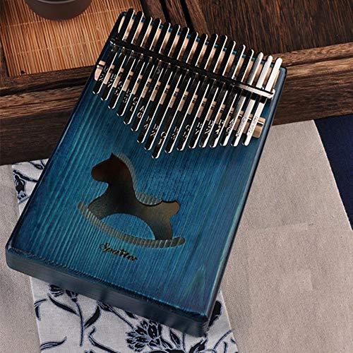 1 pz 17 chiavi Bull Kalimba Thumb Piano Strumento in mogano corpo Strumento musicale migliore qualità e prezzo, Cavallo blu