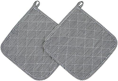 ZOLLNER 2er Set Topflappen Baumwolle, 24x24 cm, schwarz/weiß (weitere verfügbar)