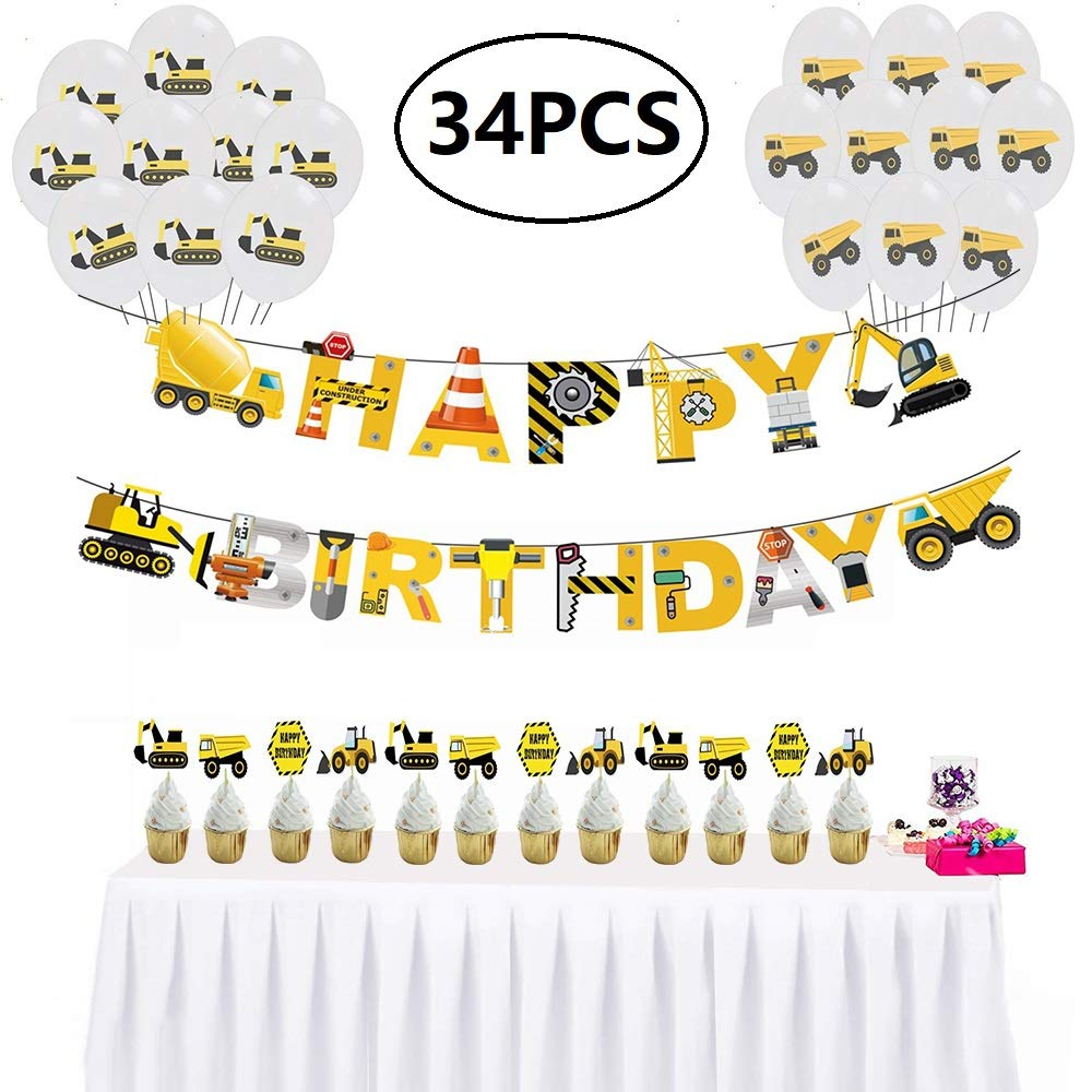 34PCS Upgrade Kids Party Favors Construction Theme Birthday Party supplies, Happy Birthday Banner, Cake Topper, Balloons Decoration For Boys Birthday, Baby Shower