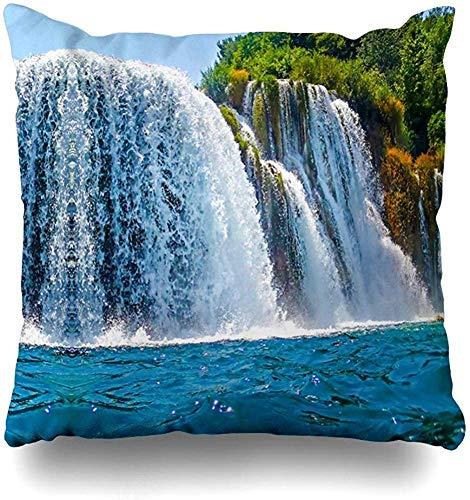Doble Cojines Fundas 18' Pintoresco Cascada Verde Limpia Parques Naturales Montaña Arroyo Iguazú Argentina Ban Funda de Almohada Suave para la Piel