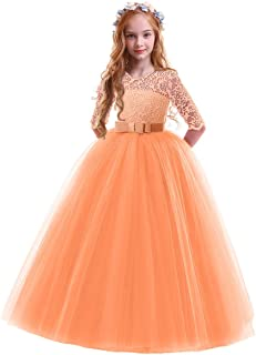 IBTOM CASTLE Girls Vintage Floral Lace 3/4 Sleeves Floor Length Party Fall Evening Formal Bridesmaid Prom Dance Gown