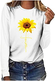 Kauneus Womens Plus Size Crewneck Long Sleeve Solid Print T Shirt Autumn Winter Basic Casual Comfy Blouse Tops