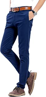Men's 100% Cotton Slightly Stretchy Slim Fit Casual Pants, Flat Front Trousers Dress Pants for Men