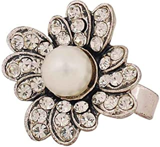 Maayra White Victorian Flower Ring Adjustable Cocktail Party Ring