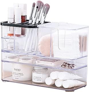 Acrylic Makeup Organizer, Clear Countertop Makeup Organizer Case Box Set, Large Cosmetic Organizer Holders for Makeup Brush