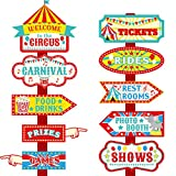 20 Pieces Circus Carnival Party Directional Signs Circus Sign Decor Circus Welcome Signs for Birthday Showman Themed Party Decoration Supplies